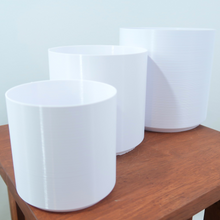 "(4"", 5"", 6"") Signature Cylindrical BioPots™️ - Biodegradable Set of 3 - 3D Printed with Saucers"