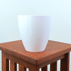 "Signature 3D Printed 6"" BioPot™️ - Large White Planter with Drainage & Saucer - Eco Friendly Plant Pot Set"
