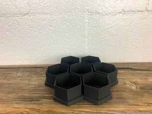NEW Black Matte HoneyComb 3D Printed BioPots™️ (set of 7) with Drainage & Saucer - Succulent Plant Pot