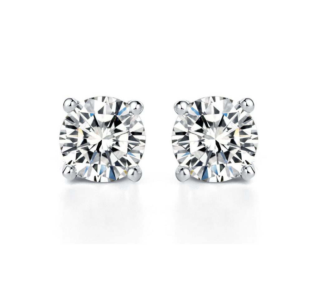 5ce4aface Mika Solitaire Round Moissanite Stud Earrings in 18K White Gold ...