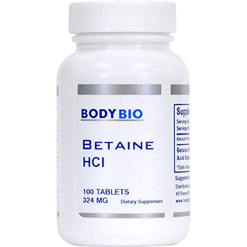 Betaine HCL 324 mg <BR> 100 ct BodyBio