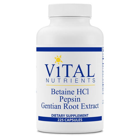 Betaine HCL Pepsin <BR>Gentian Root <BR> 225 ct VitalNutrients