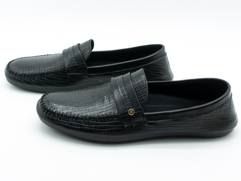 Strapped Textured Loafers