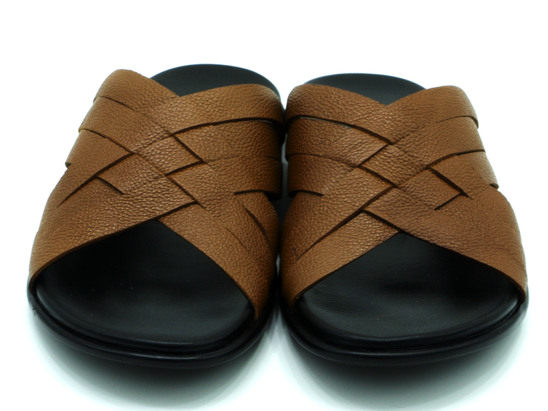 SLIP ON LEATHER SANDALS
