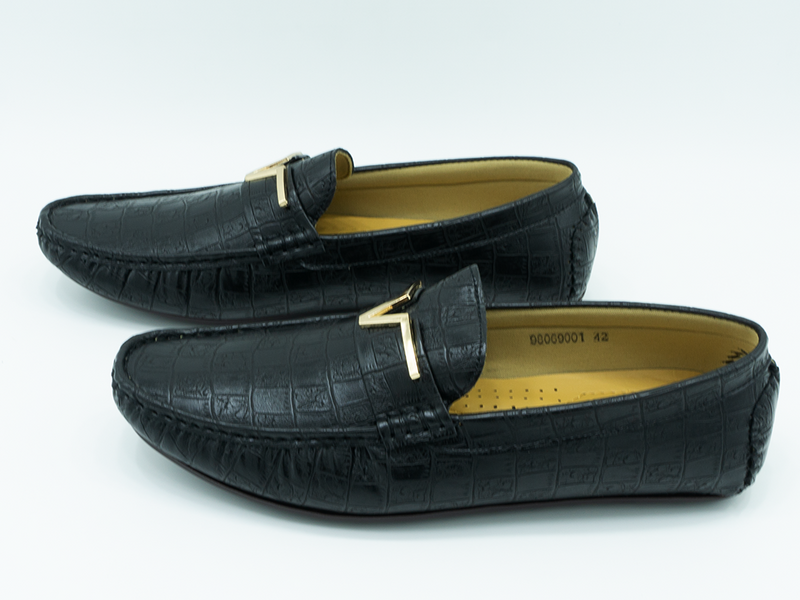 CROCODILE TEXTURED BUCKLED LOAFERS