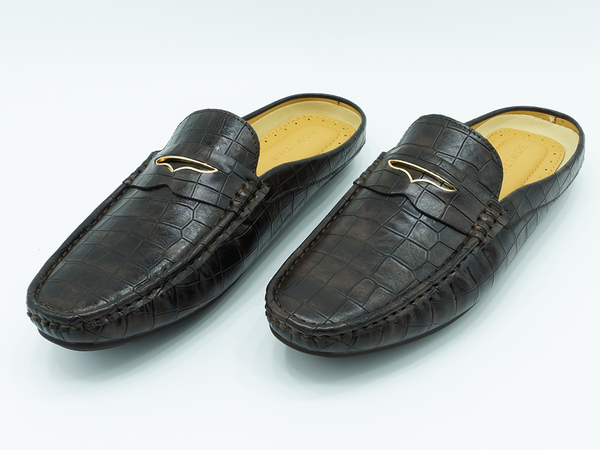 CROCODILE TEXTURED HALF LOAFERS