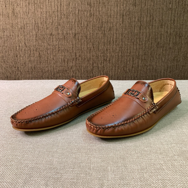 Texture Perforated Loafers