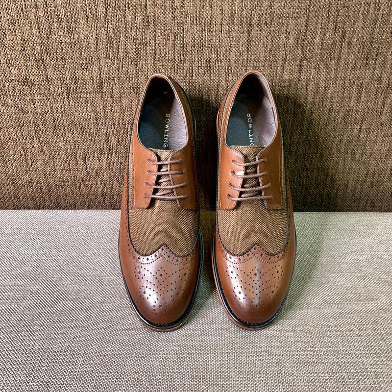 Brogued Wingtip Flat Shoes