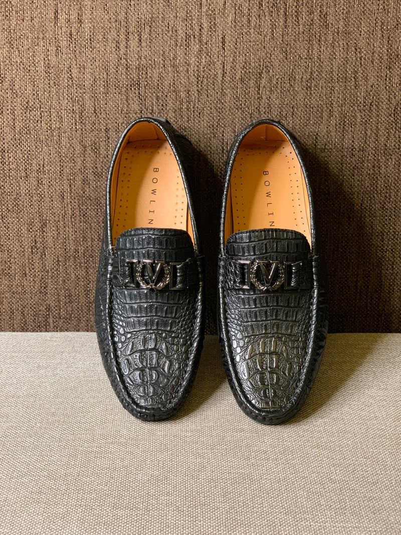 Crocodile Textured Loafers