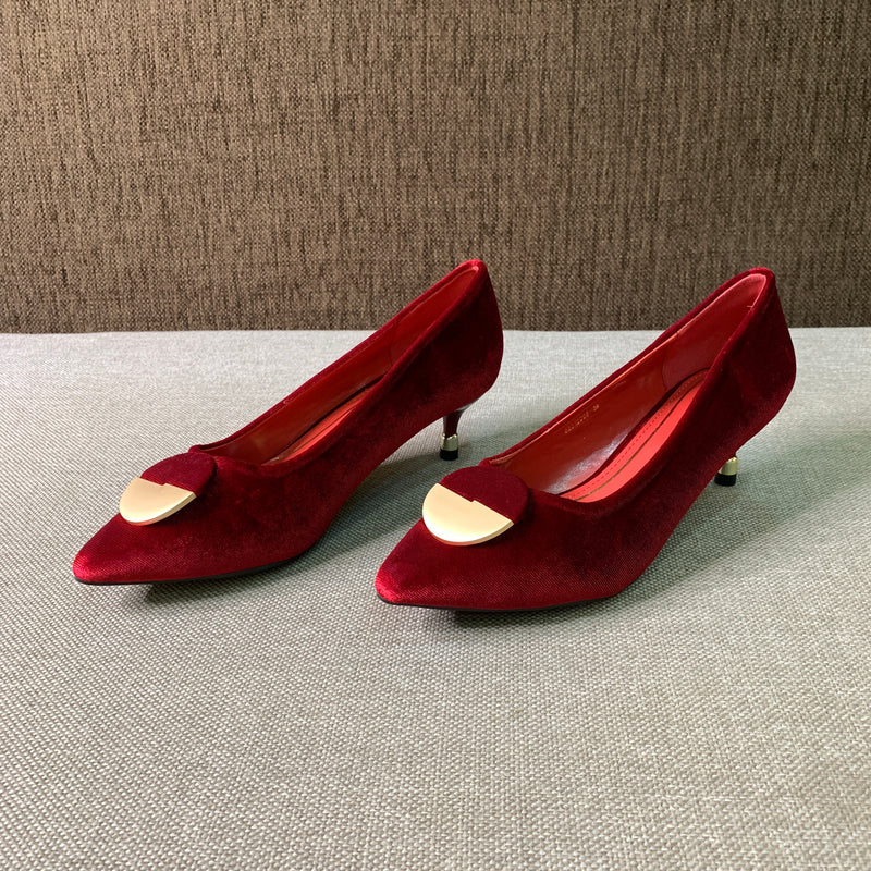 Velvet Heeled Pumps