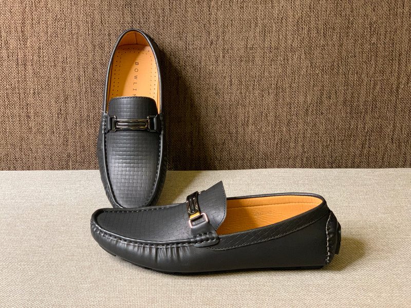 Embossed Buckled Loafers