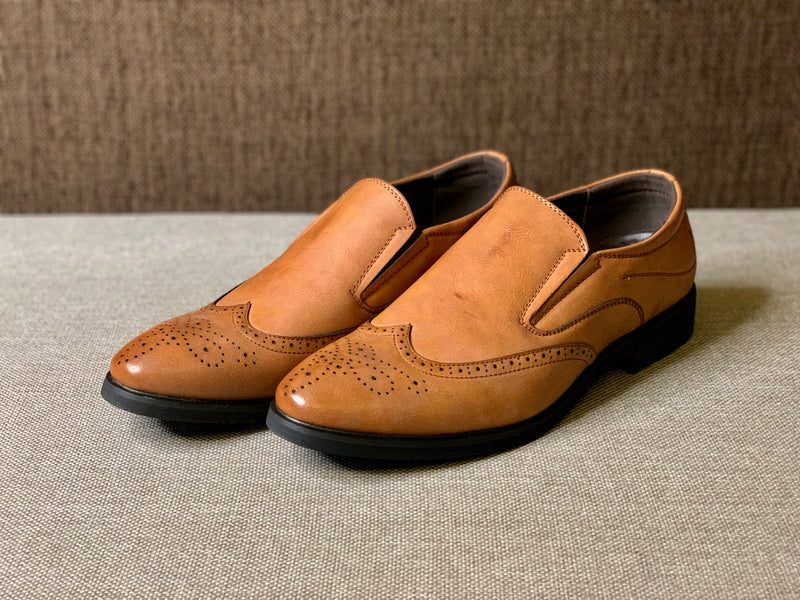 Lace Free Brogued Wingtip Shoes