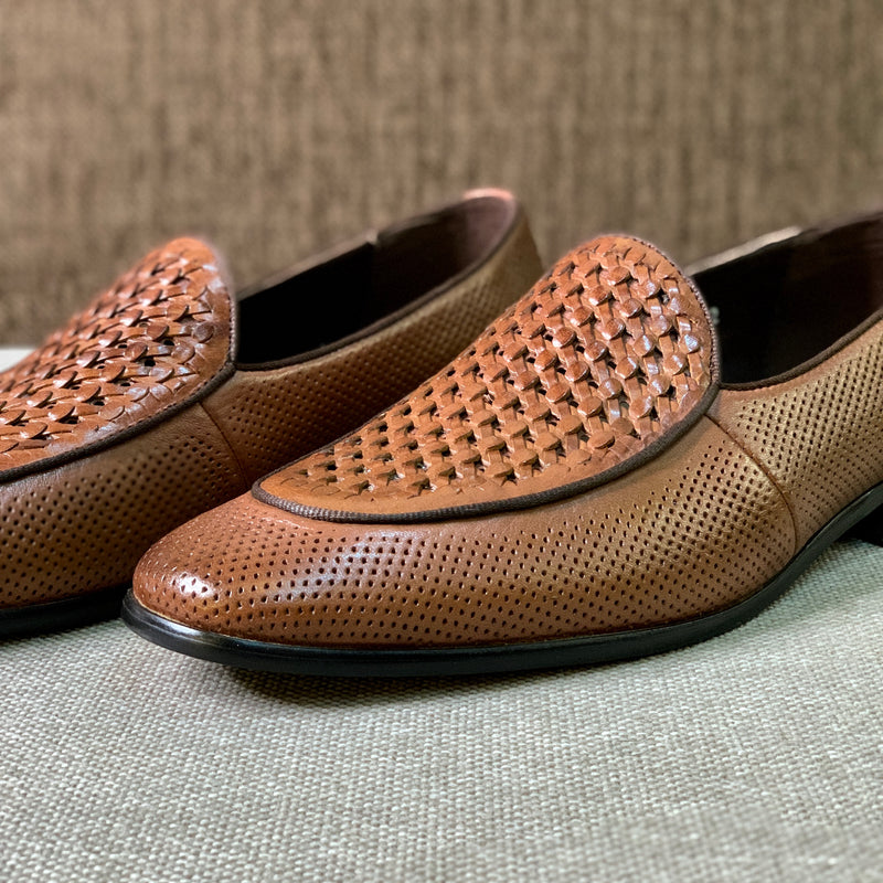 Braided Brown Moccasins