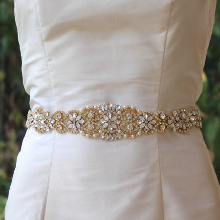 Wedding Dress Gold Crystal Sash, ALOHA Long