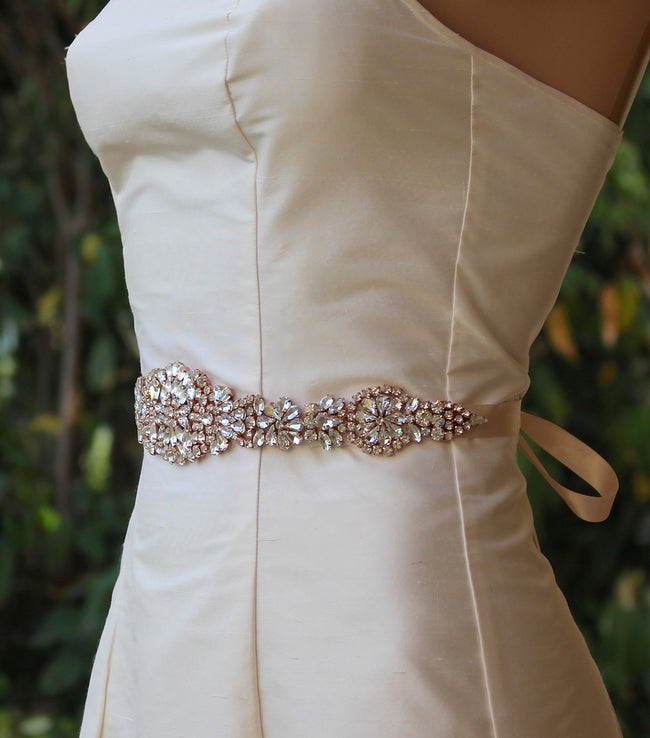 Rose Gold Crystal Wedding Dress Belt, AMOUR