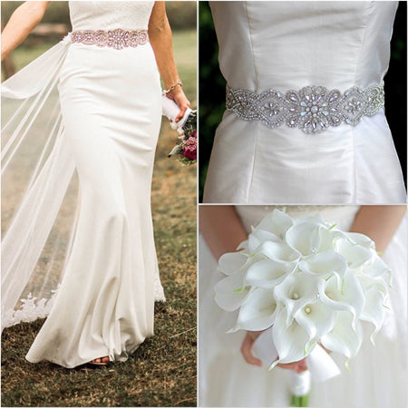 Silver Wedding Dress Sash, CHRISTEL