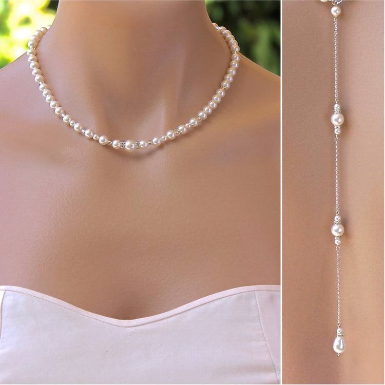 Pearl Back Drop Necklace-Classique