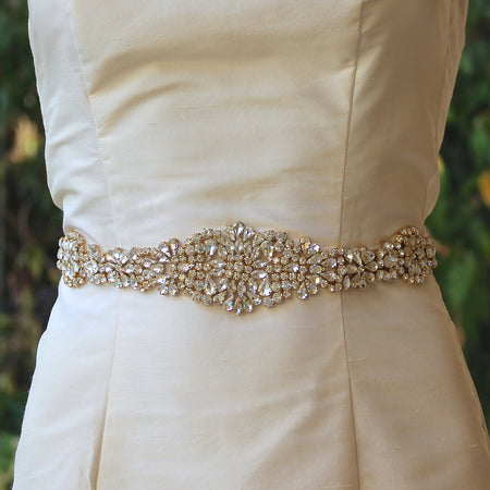 Gold Crystal Wedding Dress Belt, AMOUR
