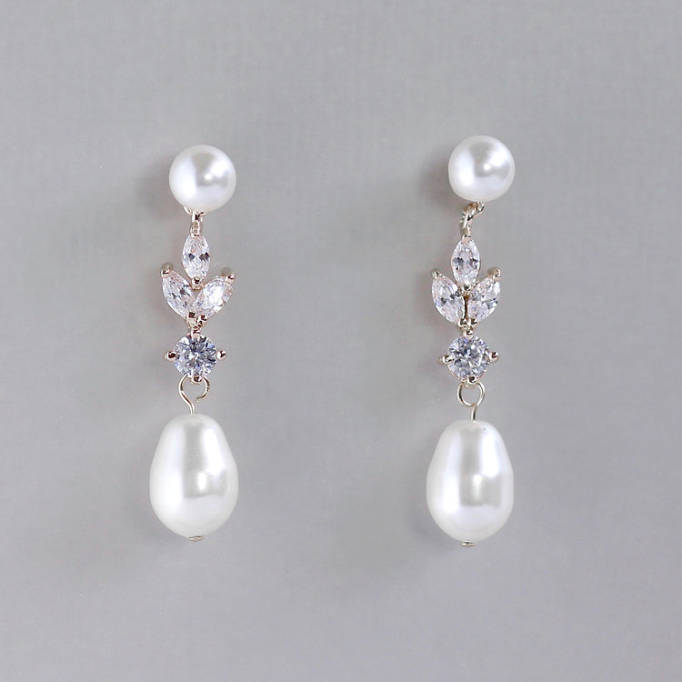 Pearl & Crystal Drop Earrings, ASHLEY PPD