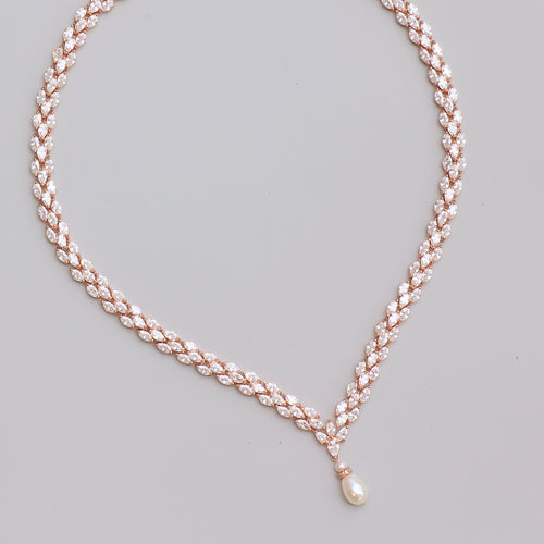 Rose Gold Crystal Necklace, FELICITY