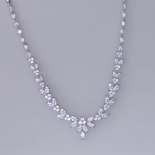 White Gold Crystal Necklace, DENISE