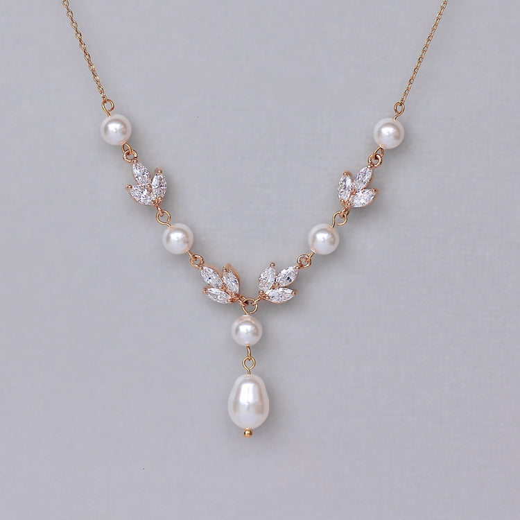 Rose Gold Crystal Necklace with Pearls, HAYLEY