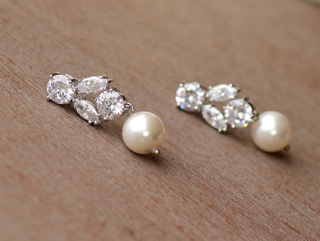 Crystal & Pearl Drop Earrings, Juliette