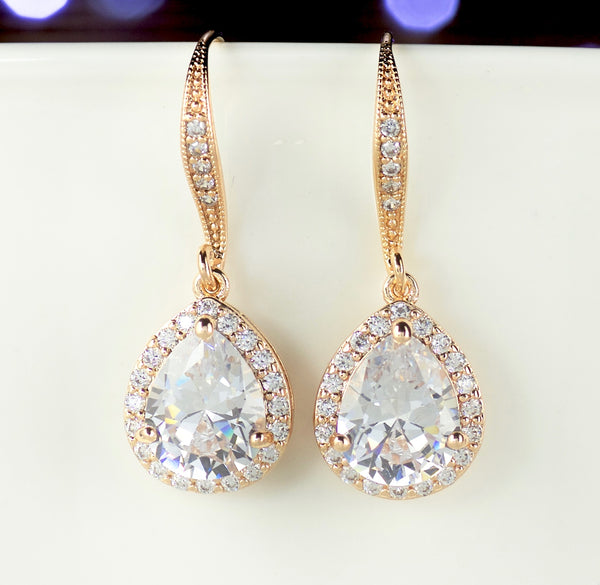 Teardrop Wedding Earrings in Gold, Silver and Rose Gold, TAMARA FH