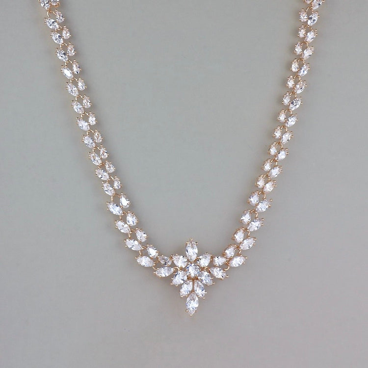 Rose Gold Crystal Bridal Necklace,  COLETTE 2