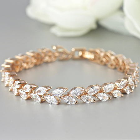 Rose Gold Crystal Bracelet, HAYLEY
