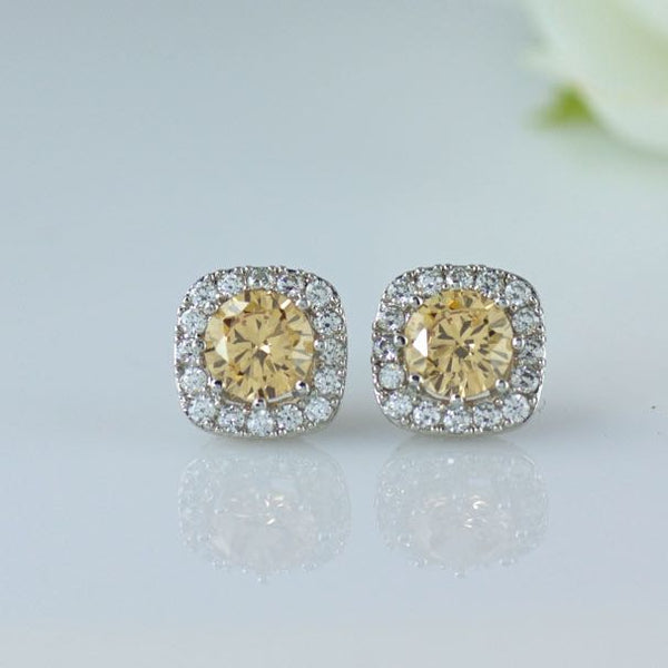 Champagne Blush Crystal Stud Earrings, RIKKI