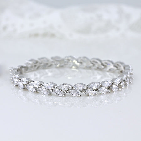 White Gold Tennis Bracelet, HAYLEY Crystal