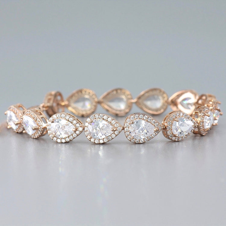 Rose Gold Teardrop Crystal Bracelet, TAMARA RG