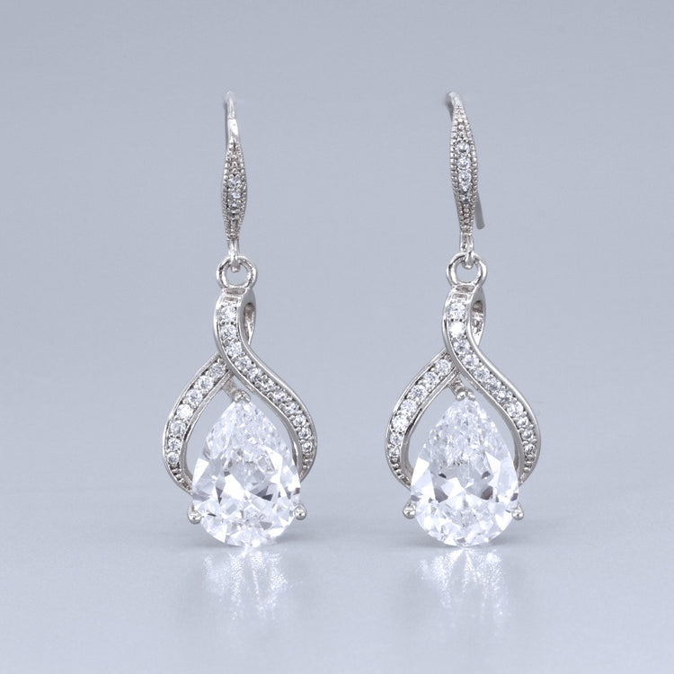 Crystal Teardrop Earrings, RIBBON