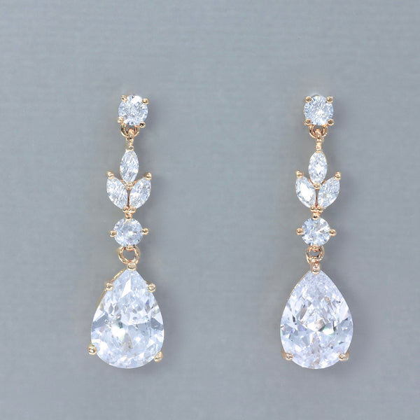 crystal bridal earrings rose gold
