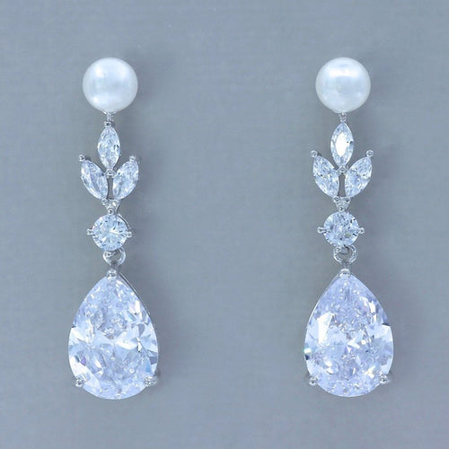 Pearl and Crystal Teardrop Earrings, ASHLEY