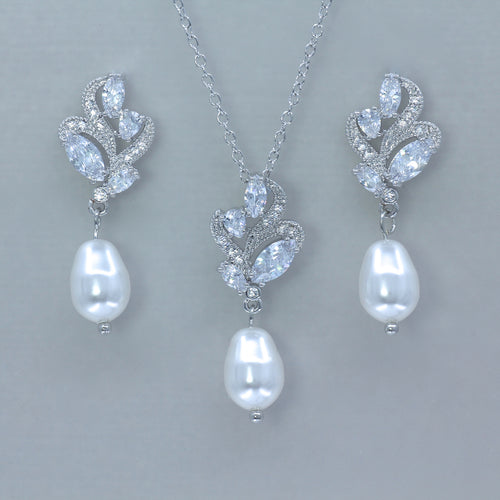 Pearl Earrings & Necklace Bridal Jewelry Set, FLEUR