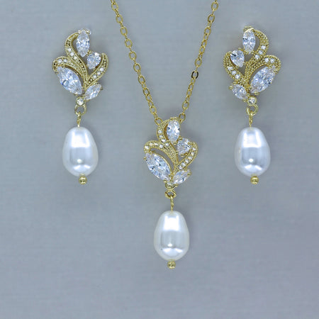 Pearl Earrings & Necklace Gold Jewelry Set, FLEUR
