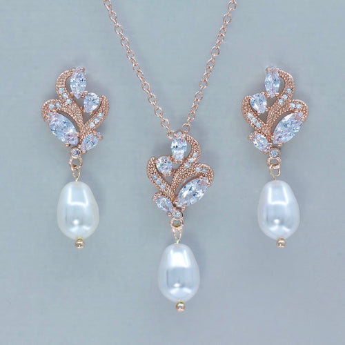 Pearl Earrings & Necklace Rose Gold Jewelry Set, FLEUR