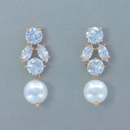 Rose Gold Crystal & Pearl Drop Earrings, JULIETTE