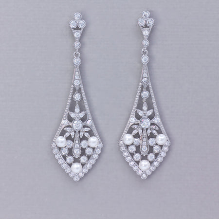 Vintage Silver Crystal Chandelier Earrings, EMILY