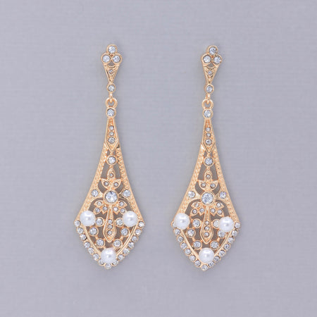 Vintage Rose Gold Crystal Chandelier Earrings, EMILY