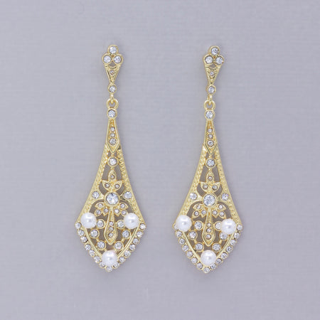 Vintage Gold Crystal Chandelier Earrings, EMILY