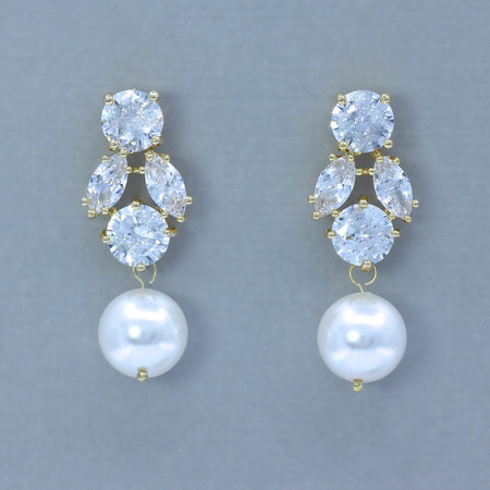 Gold Crystal & Pearl Drop Earrings, JULIETTE