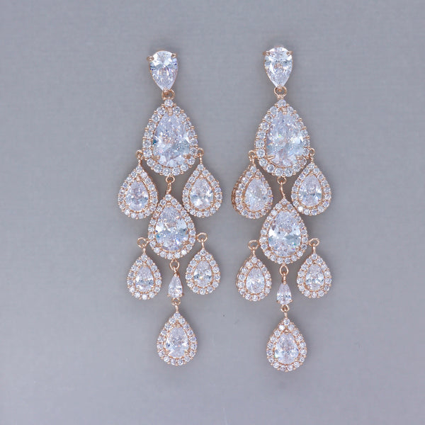 Rose Gold Chandelier Bridal Earrings, TAMARA