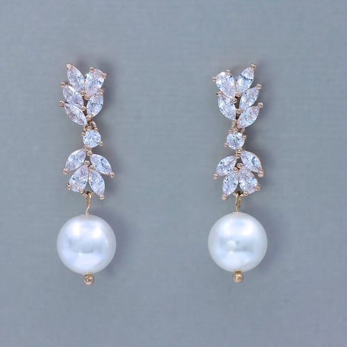 Pearl Crystal Rose Gold Earrings, ANNIE RG