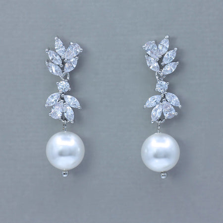 Pearl Drop Silver Crystal Earrings, ANNIE