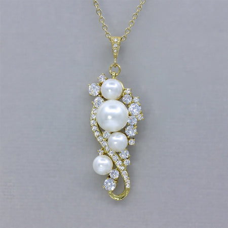 Gold Crystal and Pearl Necklace - Tilly