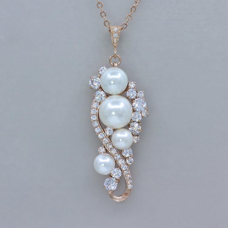 Rose Gold Pearl Necklace - Tilly