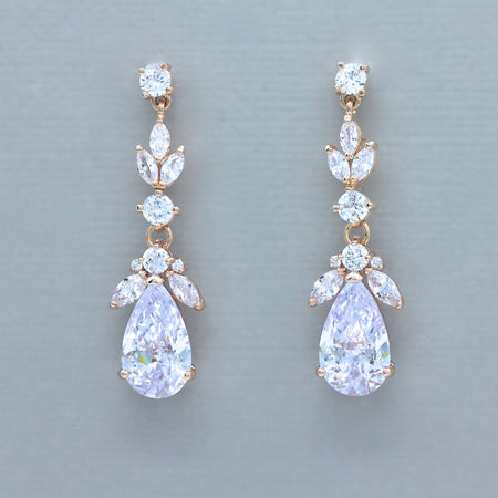 Pearl and Crystal Teardrop Earrings Gold, ASHLEY